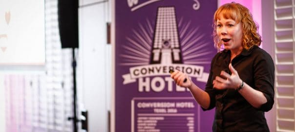 Amy Harrison during here talk at Conversion Hotel